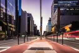 SAO PAULO, BRAZIL - CIRCA AUGUST 2015: Paulista Avenue at night
